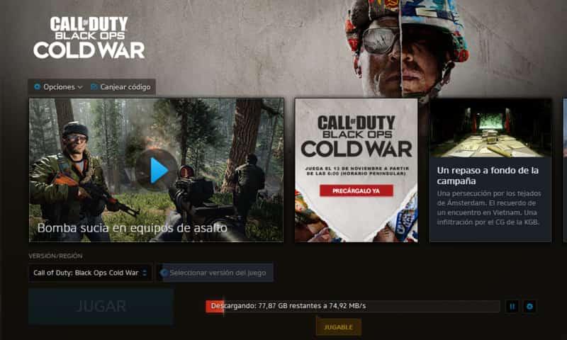 Preinstalación del Call Of Duty: Cold War